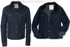 AEROPOSTALE MENS DENIM JACKET JEAN COAT CORDUROY COLLAR BUTTON DARK WASH AERO