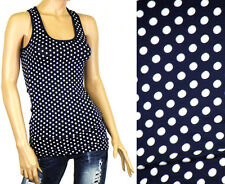 Ladies Vest Tops Navy Blue Polka Dot Design Womens Sizes S/M(UK6-8) M/L(UK8-10)