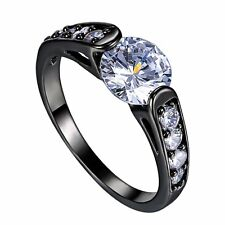 Elegant Lady Black Gold Filled Big Round White Sapphire Wedding Engagement Ring