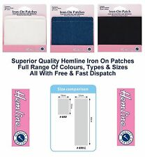 Hemline Iron On Repair Patches Cotton Denim Jeans Mend Glue Sew H690 Full Range