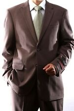 MENS 2 BUTTON SUPER 120S WOOL TAUPE SUIT FLAT FRONT, 40312N-40393-TAU