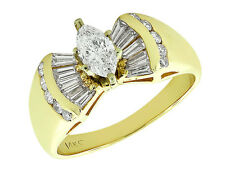Genuine 2Ct Diamond Marquise with Baguettes Engagement Ring 14K Gold