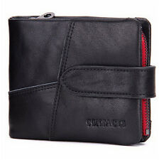 Genuine Leather Men's Card Bills Photo Coin Holder Purse Short Wallet Gift