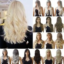 Graceful Long Curly Straight Full Head Wig Cosplay Party Daily Fancy Dress Black