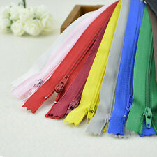 10X Assorted CONCEALED INVISIBLE NYLON ZIPS SEWING CLOSED END ZIPPERS 22CM QW