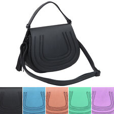 Premium Textured PU Leather Flap Saddle Crossbody Shoulder Bag