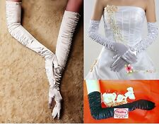 "21"" 53cm Extra Long Opera Wedding Ball Ruched Over the Elbow Party Satin Gloves"