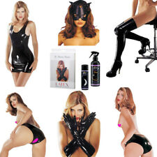 Sharon Sloane Latex Dress Rubber Stockings Gloves Panty Mask Dressing Aid Spray