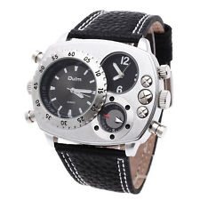 Men's Watch Military Compass Decoration Dual Times Zones Wrist Watch Cool