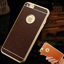Genuine Leather Aluminum Metal Frame Bumper Back Case Cover For iPhone 6 6S Plus