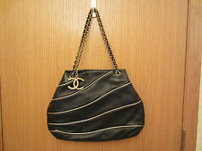 NEW CHANEL CLASSIC Black Lambskin Leather Shopper TOTE BAG Gold CC Charm