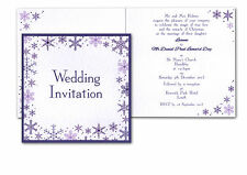 folded SQUARE * SNOWFLAKE * WEDDING INVITATION INVITE WINTER STATIONERY sample