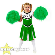 CHILDS GREEN HIGH SCHOOL CHEERLEADER GIRLS FANCY DRESS COSTUME WITH POM POMS