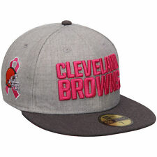 CLEVELAND BROWNS NFL BREAST CANCER BCA NEW ERA 5950 FITTED GRAY/PINK HAT/CAP NWT