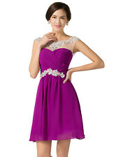 GK Cap Sleeve Sequins Chiffon Ball Gown Cocktail Formal Evening Prom Party Dress