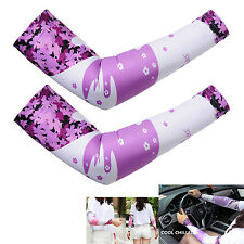 2016 Compresses Cycling Bike Arm Sleeves UV Proof Sun Protection Polyester Pink