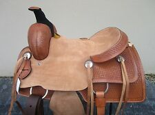 16 ROPING TRAIL PLEASURE RANCH BASKET WEAVE TOOLED LEATHER WESTERN HORSE SADDLE