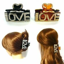 LOVE Swarovski Crystal Rhinestone Plastic Jaw Clip Hair Jewelry Claw Clamp Gift