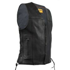 MENS MOTORCYCLE LEATHER VEST w/ SIDE LACES & DEEP CONCEALED GUN POCKETS - DA87
