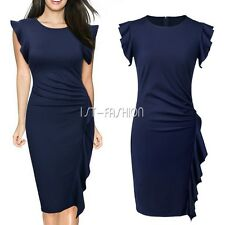 Womens Scoop Neck Ruffles Cap SleevesSlim Business Pencil Cocktail Party Dress