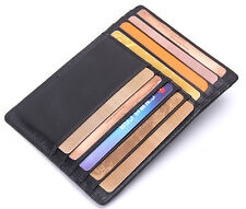 Real Leather Thin ID Card Holder Coin Purse Money Clip Card Wallet Gift Mens