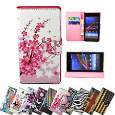 Stand Flip PU Leather Pouch Phone Cover Case For Sony Xperia Z Z1 Mini Z2 E1 M2