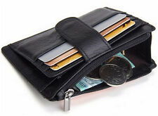Real Leather ID Photo Holder Coin Purse Bag Card Wallet Money Clip Gift Mens