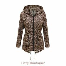 NEW WOMENS LADIES LEOPARD PRINT HOODED SHOWERPROOF RAIN FISHTAIL MAC COAT JACKET