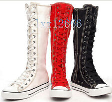Lady Canvas Flat Sneakers Lace Up Knee High Boots 3 Colours
