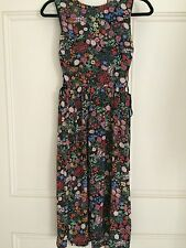 Women's Topshop Floral Midi Dress With Lace Sides UK 8