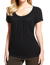 New Ladies M&S Marks & Spencer Black Sparkle Top Tunic T-shirt Blouse Summer