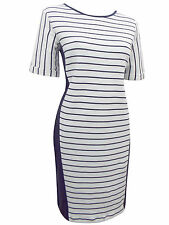New Ladies M&S Dress Navy & Cream Striped 100% Cotton Marks and Spencer 8-16