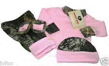 Mossy Oak Infant / Baby Gift Set Pink & Camo LS Shirt, Pants, Hat, Booties