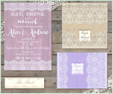 *Love Lace pastels hessian SAMPLE Wedding Stationery Invitation Invite Stylish *