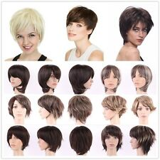 Synthetic Wigs Short Hair Full Wig 100% Natural Curly Straight Brown Blonde Mix