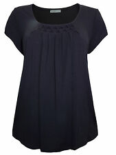 New Ladies M&S Marks & Spencer 14 - 20 Black Scoop Neck Honeycomb Top Blouse