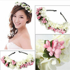US-Floral Bridal Headband Wedding Flower Hairband Garland Prom Bridesmaid Wreath