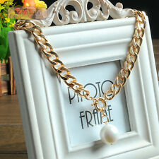 Fashion Luxury Gold/Silver Plated Chain Necklace Pearl Pendant Jewelry Gift