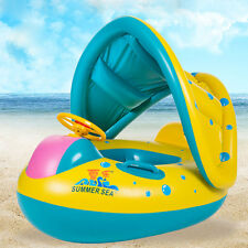 Baby Float Seat Boat Swim Ring Water Swimming Pool Inflatable Portable Yellow