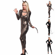 Sexy PVC WETLOOK Leopard Cat Woman Catsuit Jumpsuit Costume Fancy Dress