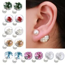 Double Sided Pearl Real Flower Dandelion Seeds Wish Glass Ball Ear Stud Earrings