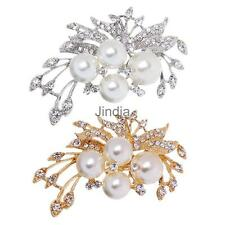 Bridal Jewelry Vintage Diamante Crystal Rhinestone Flower Big Pearls Brooch Pins