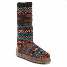 NWT Muk Luks Vanessa Indigo Brown Americ Indian Slipper Sock Boots Booties S M L