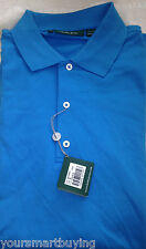 NWT $79 Bobby Jones Sea Blue 100% Cotton Knit  Short Sleeve Golf Shirt M  Med