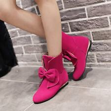 Womens Winter Wedge Heels Bowknot Faux Suede Ankle Boots Sweet Shoes US4.5-10.5