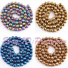 """6mm Round Faceted Hematite Gemstone Spacer Loose Beads 15""""/Lot (Not Magnetism)"""