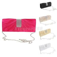 Crystal Envelopes Clutch Handbag Silk Evening Party Purse Shoulder Chain Bag