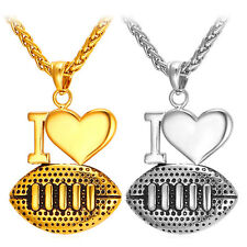 Stainless Steel I Love Football Pendant Necklace 18K Gold Plated Rugby Jewelry