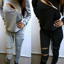 Womens Long Sleeve Sweats Hoodie Tracksuit Sweatshirt Pants Casual Hip Pop W3LE