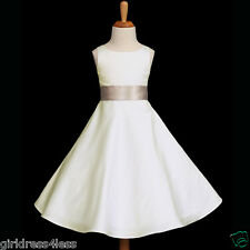 IVORY/CHAMPAGNE A-LINE WEDDING FLOWER GIRL DRESS 12M-18M 2/2T 4 6 8 10 12 14 16